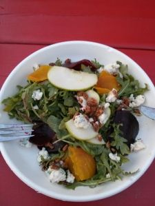 roasted beet and green apple salad.