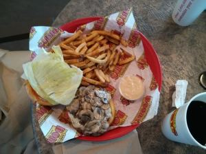 mushroom & swiss burger.