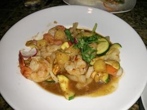 siam black tiger shrimp & scallop stir-fry.