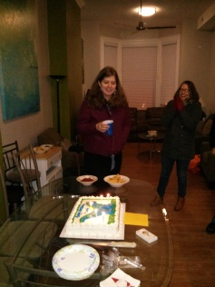 "sarah, pleasantly surprised and so kind as we sang ""happy birthday."""