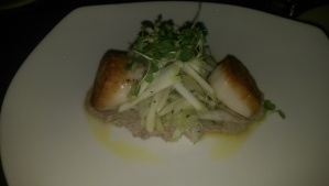 pan roasted scallops with lentil puree & apple fennel salad.