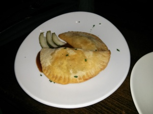 smoked pork empanadas with pickle & apple bbq.