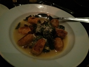 sweet potato gnocchi with bacon, greens, & parm broth.