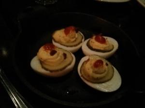 deviled farm eggs with bacon & sriracha.