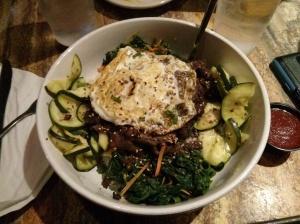 beef bibim with spinach & zucchini.