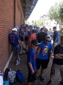 line for the bleachers.